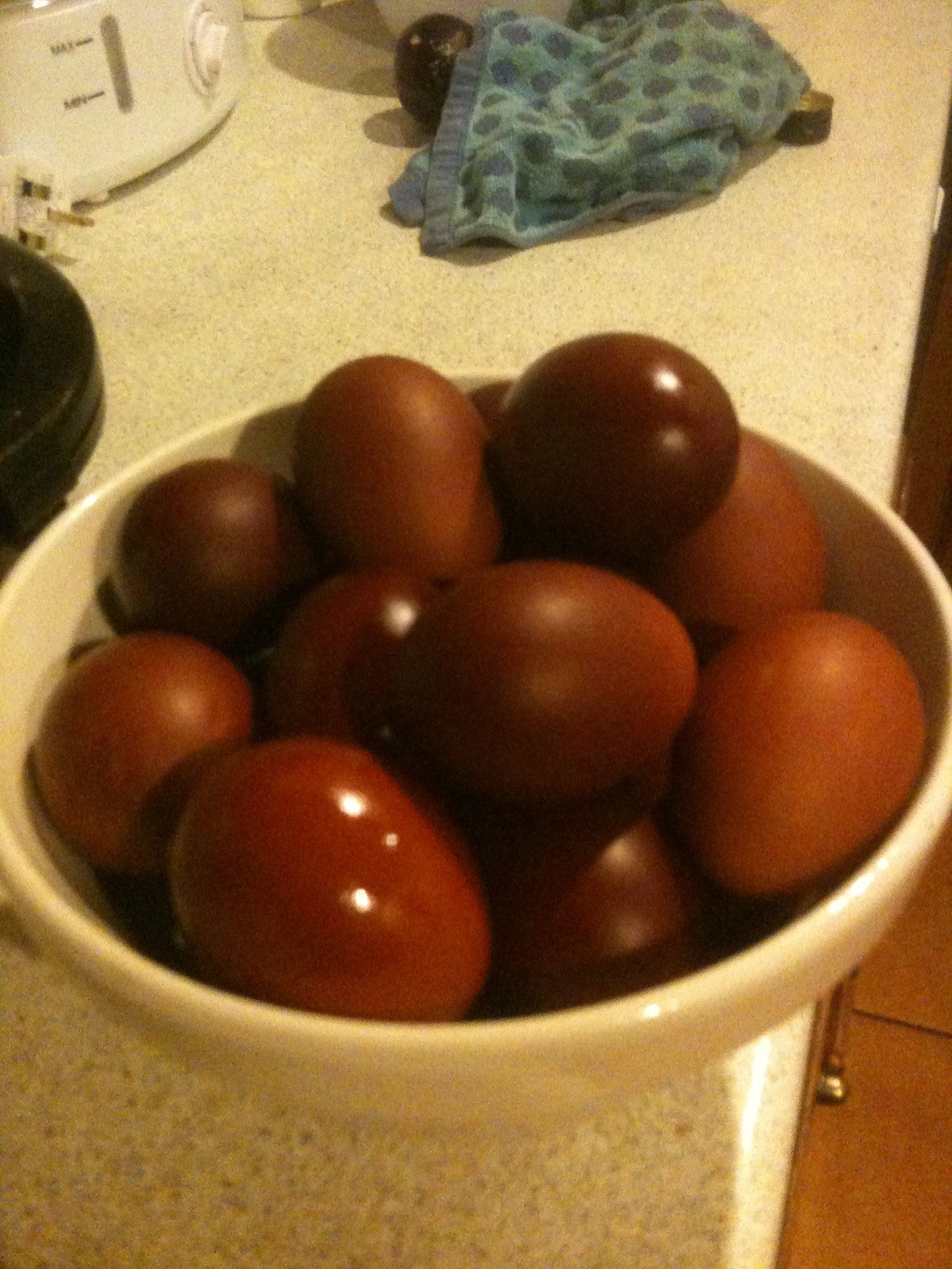 Red Easter Eggs with Onions