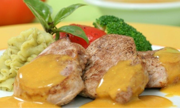 Captain's Spiros Pork with mustard and rice