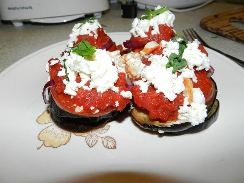 Aubergines with feta cheese