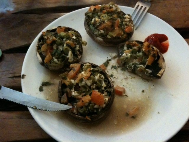 Spyros stuffed mushrooms with Feta