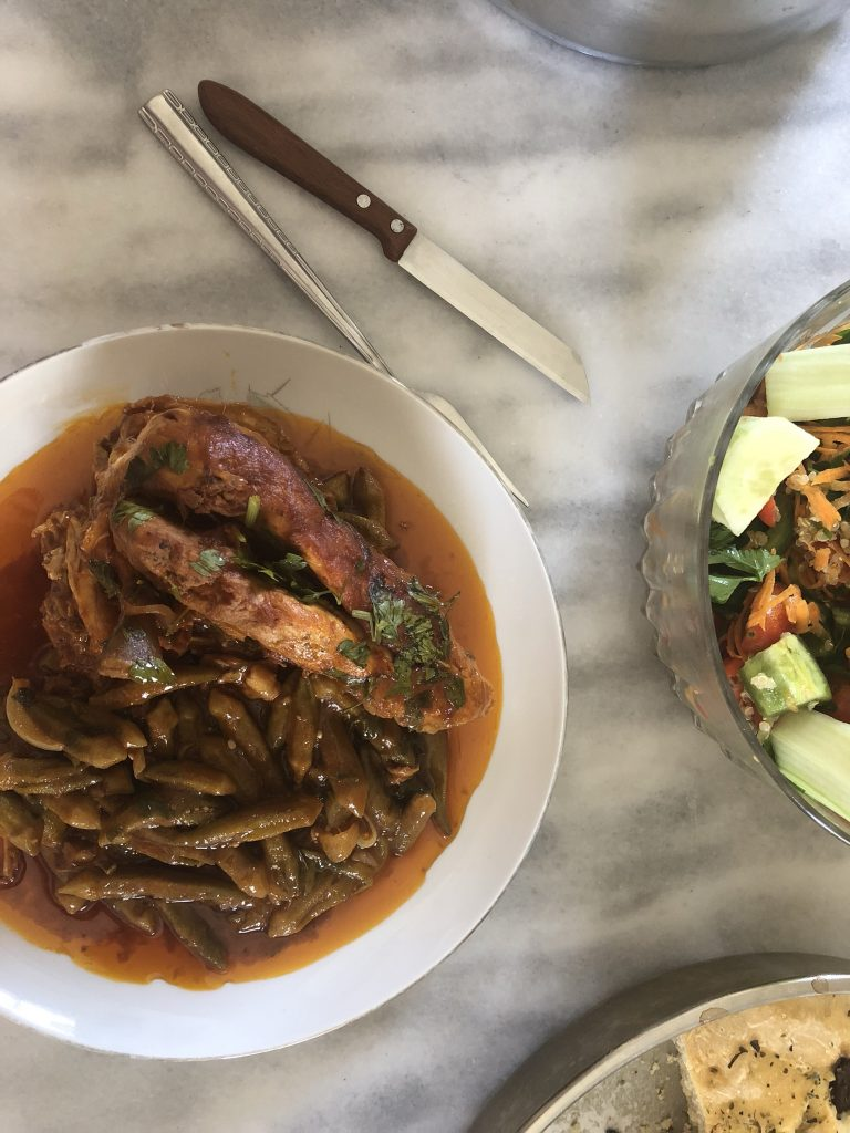Our chicken casserole with okra in red sauce