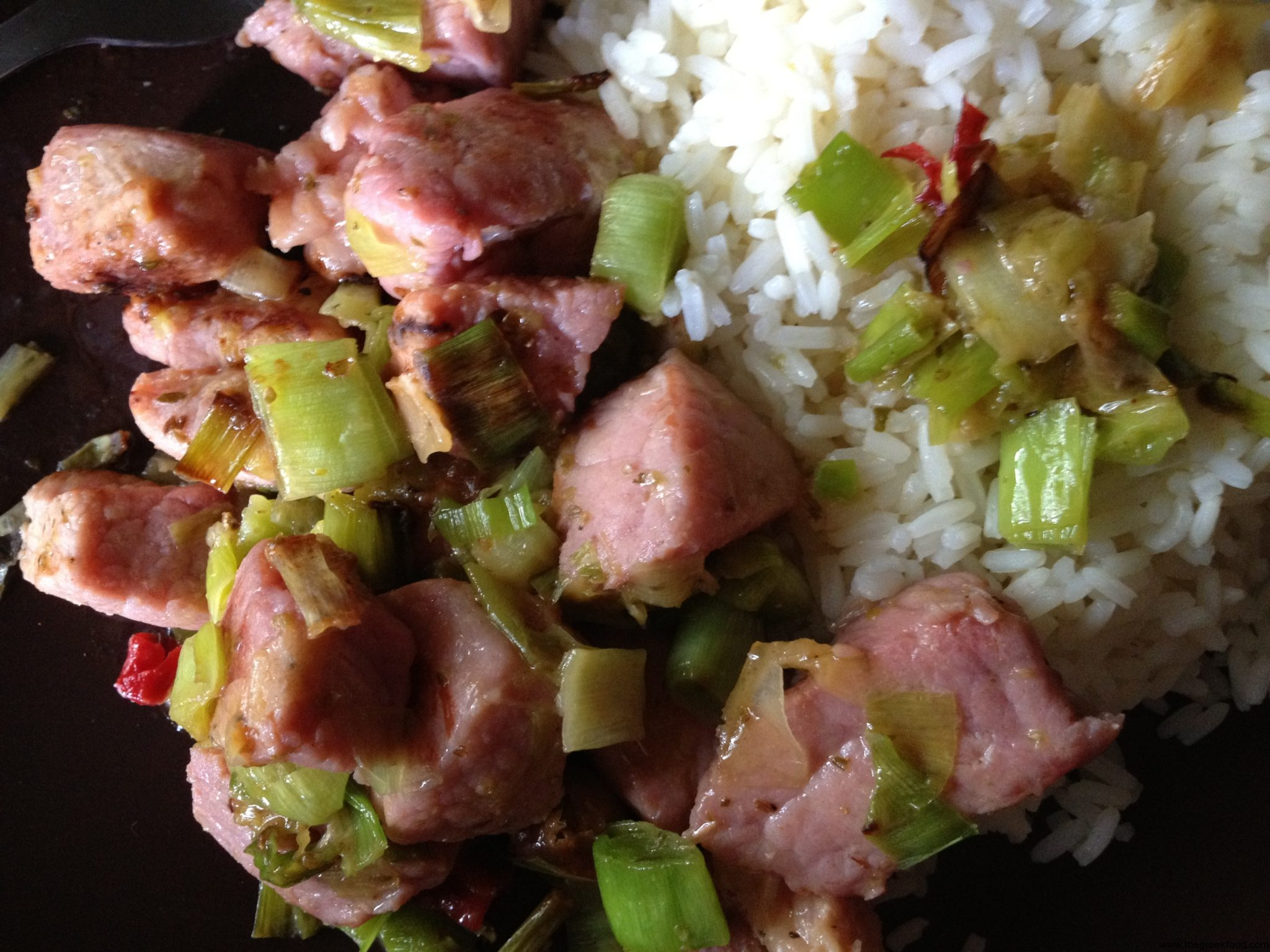 """Tigania"" Pork with leeks"