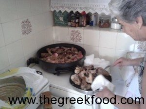 Greek grandmother cooking
