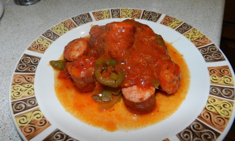 Spetsofai: Traditional stew with sausages and peppers from Volos