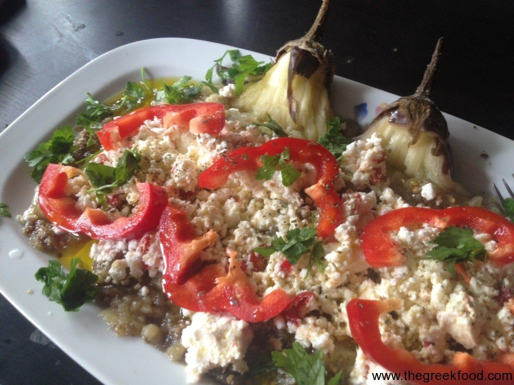 Oven baked aubergines with Feta cheese