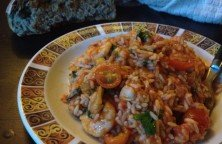 Rice with mixed sea food and bread