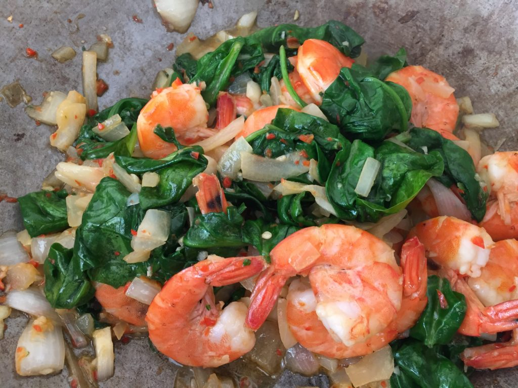 shrimps with spinach