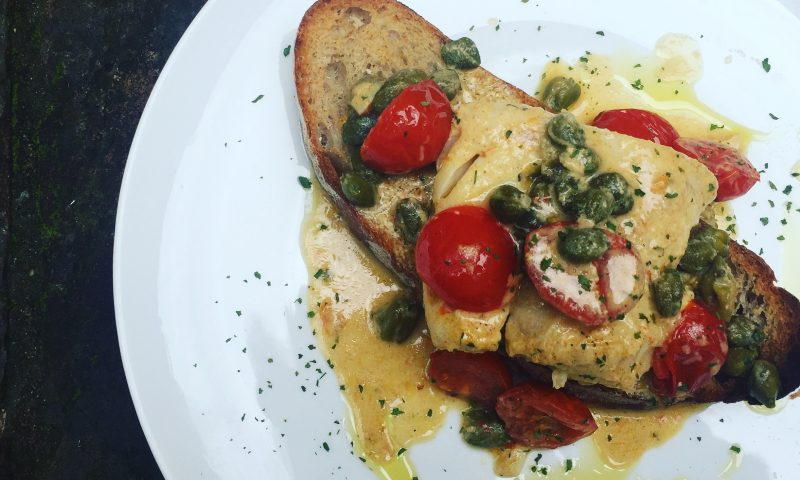 Oven baked cod in a mustard sauce