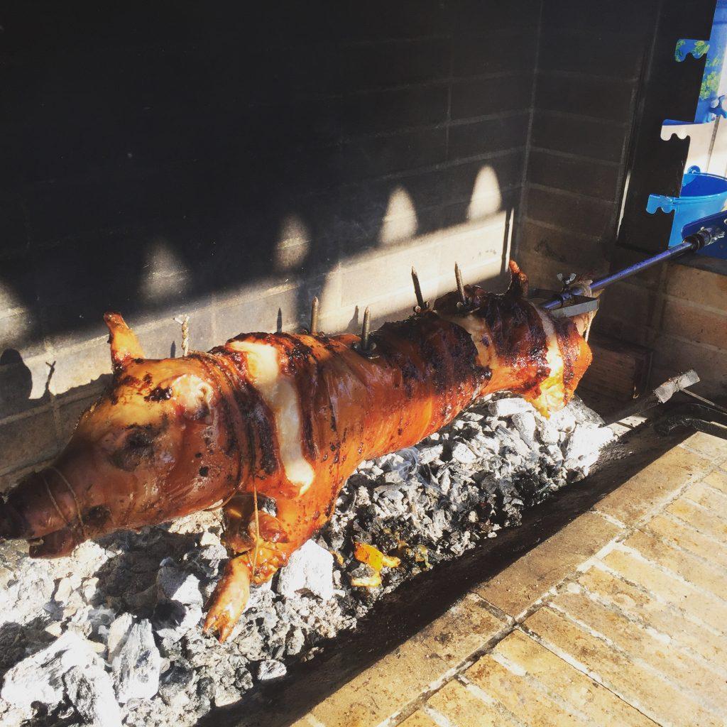 pork skewered