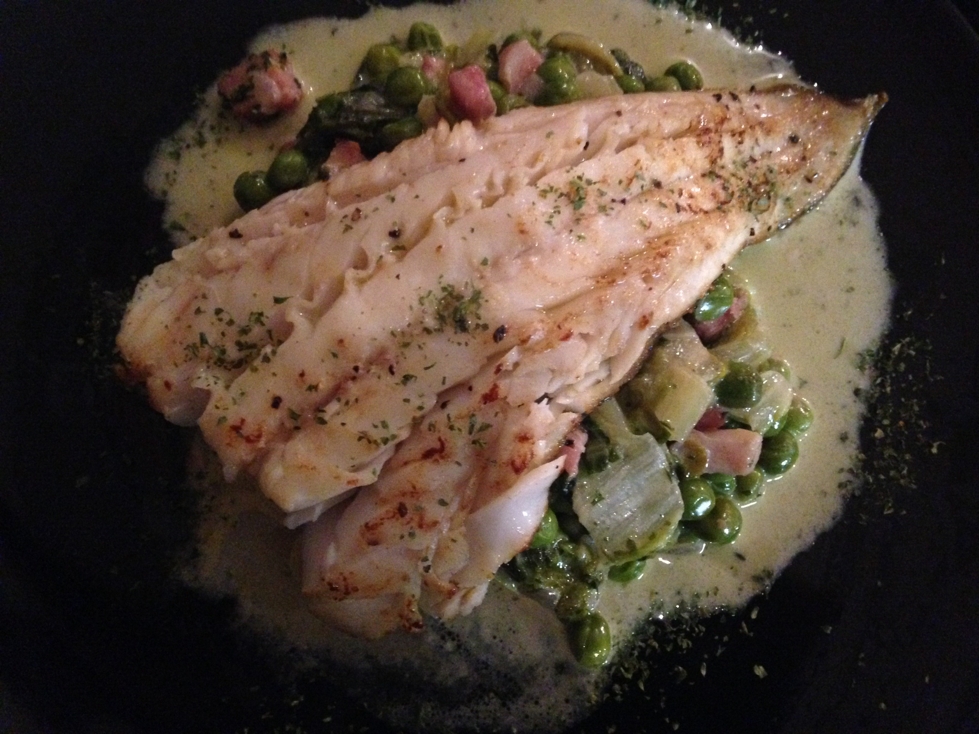 Cod  with peas and bacon sauce