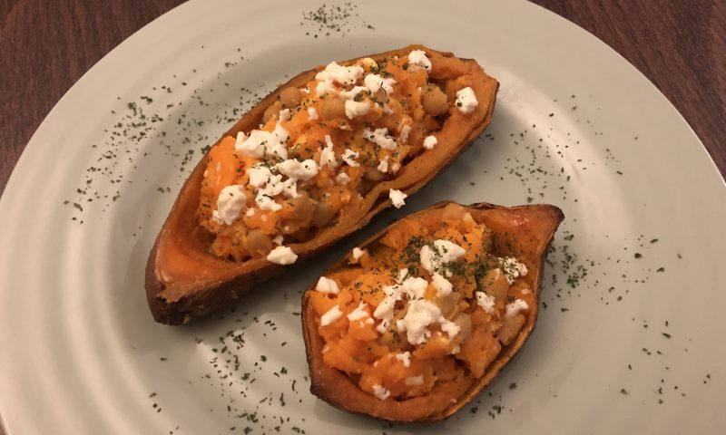 Roasted Sweet potatoes with Feta cheese