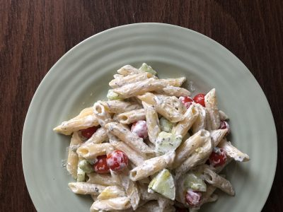 Pasta with tzatziki sauce