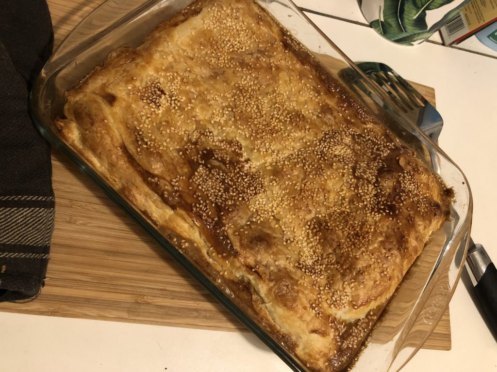 Aubergine pie with feta cheese