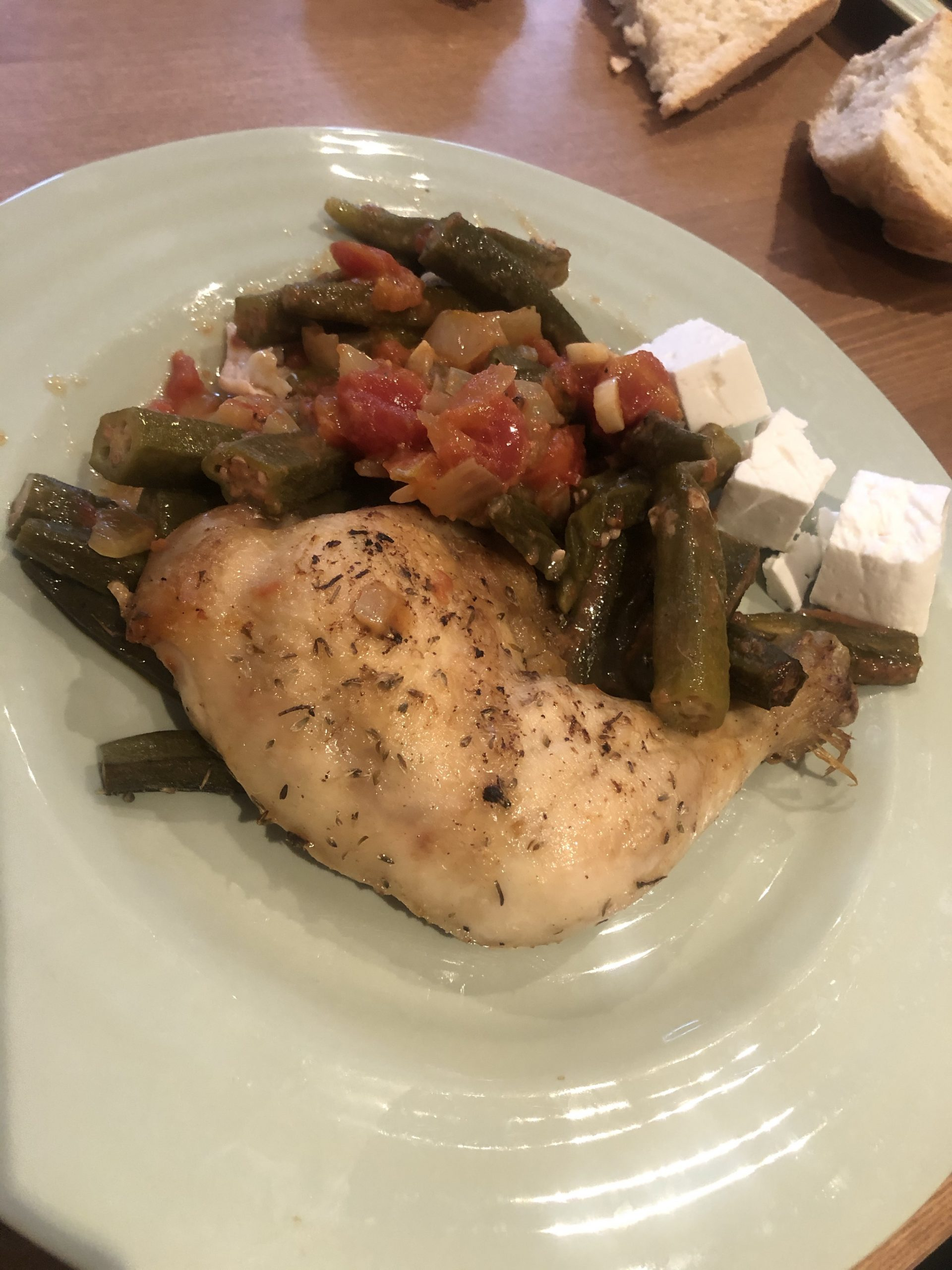 Chicken with Okra in the oven